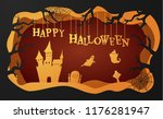 halloween paper cutout greeting ... | Shutterstock .eps vector #1176281947
