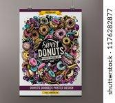 donuts doodles poster design.... | Shutterstock .eps vector #1176282877
