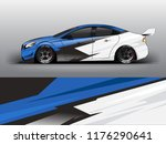 Racing Car Wrap. Blue Abstract...