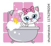baby shower card. cute cartoon... | Shutterstock .eps vector #1176298204