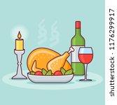 thanksgiving dinner with... | Shutterstock .eps vector #1176299917