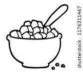 line drawing cartoon bowl of... | Shutterstock .eps vector #1176311467