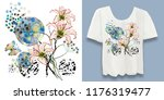 Stock photo stylish designer print on a t shirt abstract floral arrangement with graphic elements and grunge 1176319477