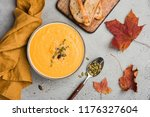 pumpkin soup puree or cream... | Shutterstock . vector #1176327604