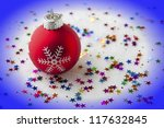 Christmas festive background with bauble and blue vignette - stock photo