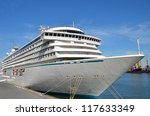 cruise tourist ship in black... | Shutterstock . vector #117633349