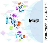 travel suitcase plane vector... | Shutterstock .eps vector #1176334114