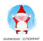 funny pig dressed in santa...   Shutterstock .eps vector #1176349447
