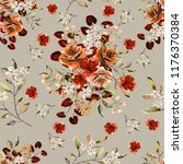 seamless pattern with flowers... | Shutterstock . vector #1176370384