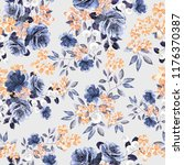seamless pattern with flowers... | Shutterstock . vector #1176370387