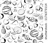 fruits pattern. set fruits...   Shutterstock .eps vector #1176373114