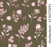 seamless pattern with flowers... | Shutterstock . vector #1176373291