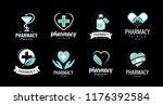 drugstore  pharmacy set of...   Shutterstock .eps vector #1176392584