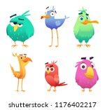 Cartoon Funny Birds. Faces Of...