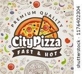 pizza food background. italian... | Shutterstock .eps vector #1176402304