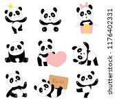 cute baby pandas. toy animals... | Shutterstock .eps vector #1176402331