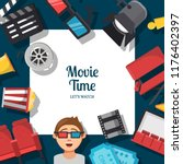vector flat cinema icons... | Shutterstock .eps vector #1176402397