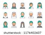 islam linear avatars. arabian... | Shutterstock .eps vector #1176402607