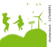 Ecology city and elements background vector concept- wind alternative energy and girls playing in grass - stock vector