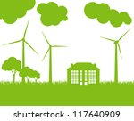 Green Eco city ecology vector background concept with wind generators - stock vector