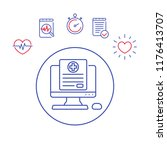 medical history vector line icon   Shutterstock .eps vector #1176413707