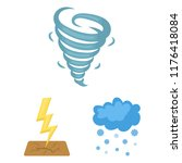 different weather cartoon icons ... | Shutterstock .eps vector #1176418084