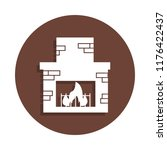 fireplace icon in badge style....   Shutterstock .eps vector #1176422437