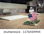 football player with a white... | Shutterstock . vector #1176434944