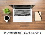 wood office desk table with... | Shutterstock . vector #1176437341