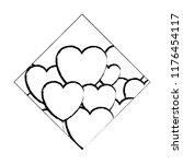 hearts diamond frame sketch | Shutterstock .eps vector #1176454117