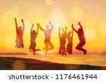 group of happy friends having... | Shutterstock . vector #1176461944