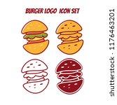burger logo icon symbol set any ... | Shutterstock .eps vector #1176463201