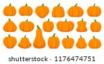 Pumpkin Flat Icons Set. Sign...
