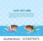 cheerful and active little boy... | Shutterstock .eps vector #1176475471