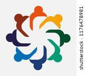 teamworking embracing eight... | Shutterstock .eps vector #1176478981