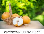 snow pear or fengsui pear on... | Shutterstock . vector #1176482194