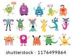 cute colofrful monster set ... | Shutterstock .eps vector #1176499864