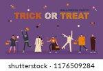 people enjoying a halloween... | Shutterstock .eps vector #1176509284