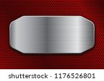 brushed metal plate on red... | Shutterstock .eps vector #1176526801