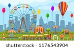 amusement park. fun park vector ... | Shutterstock .eps vector #1176543904