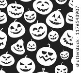 autumn pumpkins pattern. happy... | Shutterstock .eps vector #1176543907