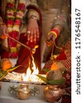 indian couple fire flame ritual ... | Shutterstock . vector #1176548167