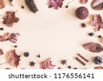autumn composition. frame made... | Shutterstock . vector #1176556141
