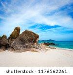 beautiful white sand beach.... | Shutterstock . vector #1176562261