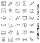 thin line vector icon set   pen ... | Shutterstock .eps vector #1176564037
