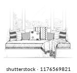 the sofa on the windowsill.... | Shutterstock .eps vector #1176569821