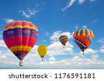 hot air balloon flying on sky.... | Shutterstock . vector #1176591181