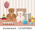 teddy bear and clorful toys ... | Shutterstock .eps vector #1176595801