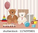 teddy bear and clorful toys ... | Shutterstock .eps vector #1176595801