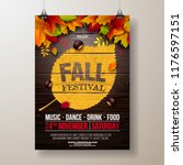 autumn party flyer illustration ... | Shutterstock .eps vector #1176597151